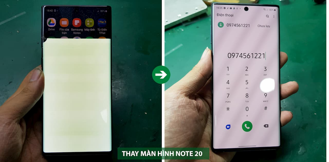 thay màn hình samsung note 20 ultra